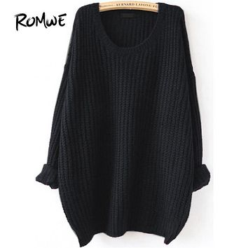 ROMWE Drop Shoulder Textured Knitted Sweater Pullovers Women Black Loose Long Sweaters Fall 2017 Fashion Casual Basic Sweater