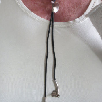 Western style Black Satin cord necklace with 3 Silver wokkels - Lasso Lariat silver necklace