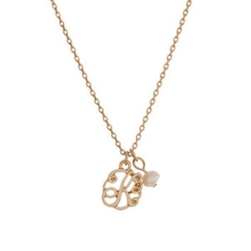 Gold Letter Monogram K Necklace