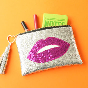 Hot Lips Diamond Clutch Bag