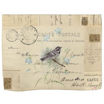 Vintage Bird French Postcard Towel