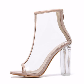 Sexy Kim Kardashian Sandal Women Style PVC Clear Transparent  High Heel Sandals Plus Size Stilettos Women Shoes Bare boots