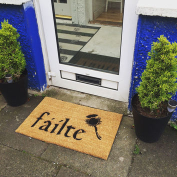 Irish Fáilte and thistle doormat