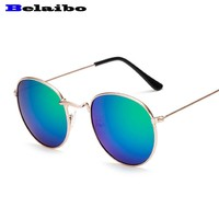 Belaib 2017 Hot Selling ear Sunglasses Women Vintage Summer Style Round Metal Sun Glasses for Women Cat Eyes Mirror Shades UV400