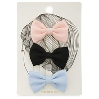 Solid Bow Hair Clip Set
