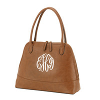 Camel Brown Bree Handbag Purse with Initial, Monogram or Blank. Leather Like.