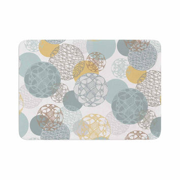 "Maike Thoma ""Floating Circles Design"" White Blue Memory Foam Bath Mat"