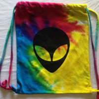 Alien Tie dye drawstring bag perfect for festivals and raves