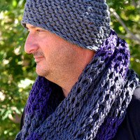Men's Fashion Accessories. Skullcap and Infinity Scarf Set