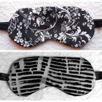 Custom Sleep Eye Mask, Satin or Fleece Back, Black White Flowers, Gray Abstract Pattern, Night Nap Travel, Adult Size Women Teen Head Gift
