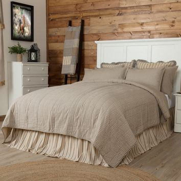 Sawyer Mill Charcoal Ticking Stripe Quilt Coverlet