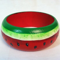 Quirky and cute wooden watermelon bracelet