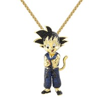 "Designer New Iced Out Character Blue Goku Pendant 14k Gold Finish Free 24""  BoxChain"