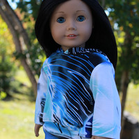 18 inch doll clothes, blue, white and black abstract print doll hoodie, bright blue skinny jeans, Upbeat Petites