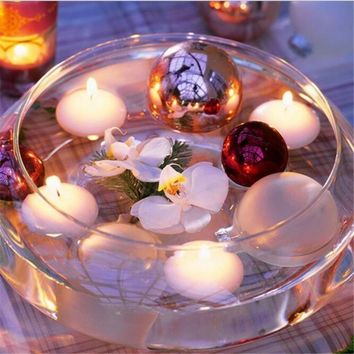 10Pcs Round Smokeless Floating Candles Wedding Party Home Hotel Romantic Decor