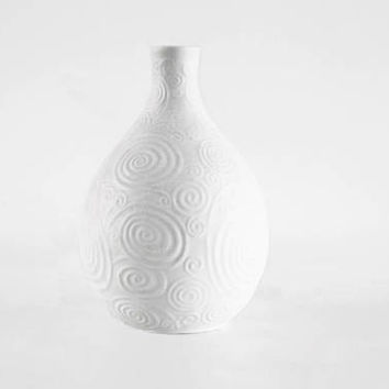 Vintage German White Bisque Vase Geometric Pattern -  Heinrich