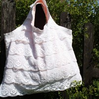 Boho Chic  Lace Ruffle Tote With Vintage fabrics and Accents Purse