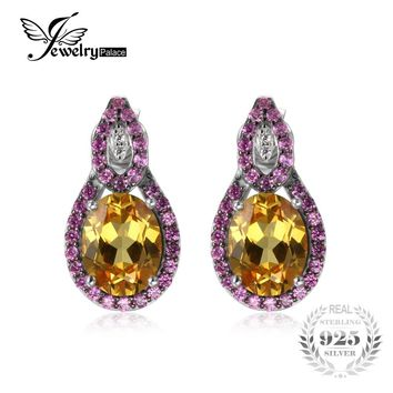 JewelryPalace 6ct Orange Created Sappire&Pink Created Sapphire Stud Earrings For Woman 100% 925 Sterling Silver Fine Jewelry