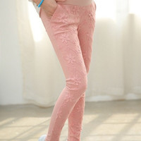 Spring new Style Lace Cotton Blends Maternity Mom Bottoms Pants = 1946246660