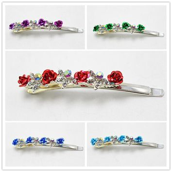 1pc Fashion Flower  Pretty  Hairpins Girls Hair clip Barrette Women Rose Silver Hair Pin Jewelry  Accessories 1387-4