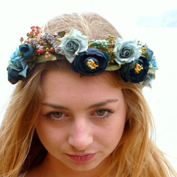 Blue Flower Crown, Woodland Wreath, Rustic Wedding Headband, floral crown, Woman's Hair Accessories, Light Blue Rose Crown, gift for bride
