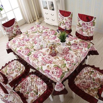 13pcs Fashion Nobel Retro Floral Flower Pattern Polyester Tablecloths Chair Cover Banquet Lace Coffee Table Cloth Home Decor
