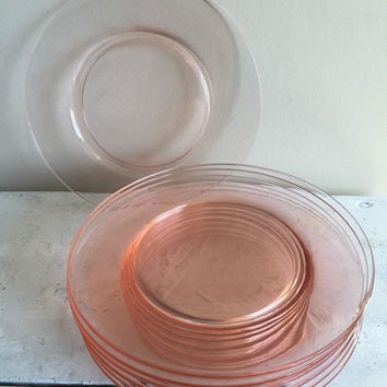 Set of SIX pink depression glass salad dessert plates, vintage pink glass dessert plates, wedding baby shower pink plates, pink glass plates