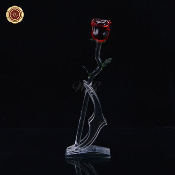 WR Women Fashion Red Crystal Rose Christmas Ornaments Home Office Decor Long Stem Flower Wedding Favors Valentine Gifts Idea