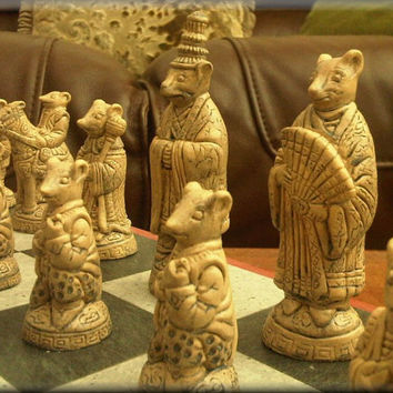 Super Cute Oriental Mouse Chess Set with Two Extra Queens Deep Walnut and Aged Sandstone