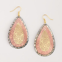 Brown Stamped Teardrop Earrings | World Market