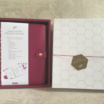 BRAND NEW Kikki K Large Personal Planner Black Cherry A5 Size Leather Gold Rings