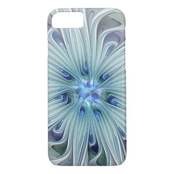 Floral Beauty Abstract Modern Blue Pastel Flower iPhone 8/7 Case
