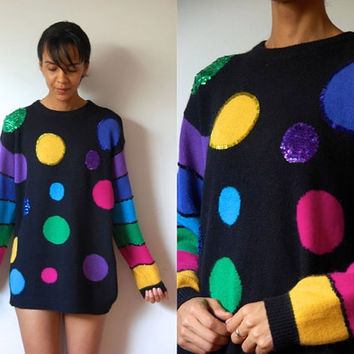 Vtg Angora Sequined & Beaded Polka Dots and Stripes Colorful Sweater