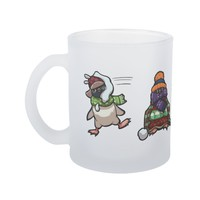 Christmas Winter Penguin Snowball Fight Cartoon Frosted Glass Coffee Mug