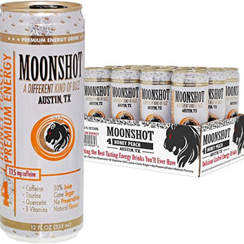 MOONSHOT Sparkling Honey Peach Energy Drink • 30% Juice • 115mg Caffeine • Pure Cane Sugar • Healthy All Natural Energy Drink • No Artificial Flavors, Sweeteners, Colors or Preservatives