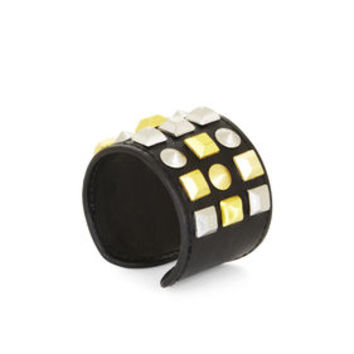 Black BCBG Studded Faux-Leather Cuff