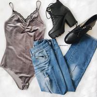 My Sweet Velvet Bodysuit (Grey)