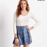 Aeropostale  Metallic Slub-Knit Pleated Skirt