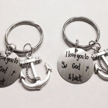 Anchor I Love You To God And Back The Moon Best Friend Couple's Keychain Set