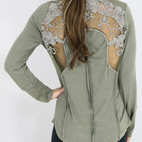 Isles of Scilly Light Olive Henley Top With Sheer Lace Back Detail