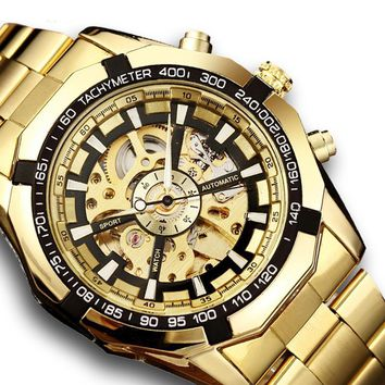 Gold Automatic Mechanical Skeleton Stainless Steel Self Wind Wristwatch