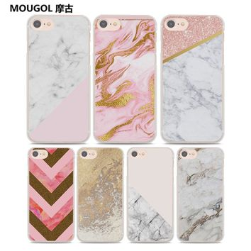 MOUGOL rose gold glitter modern marble stripes Style Thin clear phone shell case for Apple iPhone 8 8Plus X 7 7Plus 6 6sPlus SE