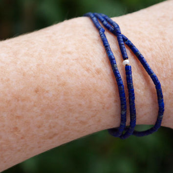 Tiny lapis lazuli bracelet Very fine dark blue lapis beads Micro beads wrap bracelet Convertible necklace Rose gold fill Very small beads