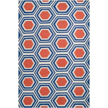 Throw Rug - Poppy Red, Ultramarine Blue, White