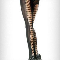 Corset Back Opaque Black Tights | PLASTICLAND