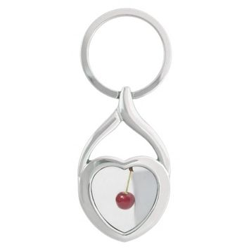 Red Cherry Berry Silver-Colored Heart-Shaped Metal Keychain