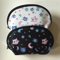Kawaii Cute Harajuku Cat Neko Star Moon Planet Space Galaxy Anime Manga Cartoon Pastel Goth Soft Grunge Pouch Make up bag