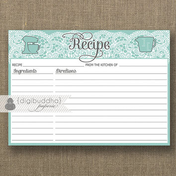 Blue & White Lace Recipe Card INSTANT DOWNLOAD Turquoise Aqua Bride Bridal Shower 5x7 DIY Printable or Printed Fill-In Recipe Retro - Amy
