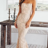 Catching Fire Gold Sequin Strapless Sheer Mesh Side Maxi Dress Gown