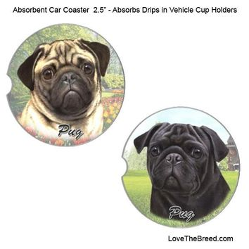 Pug Absorbent Car Coaster